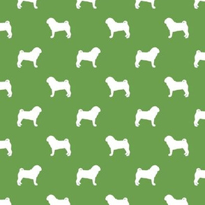 pug silhouette - dog silhouette fabric asparagus
