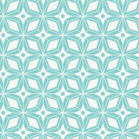 Starburst - Midcentury Modern Geometric Aqua fabric by heatherdutton on Spoonflower - custom fabric