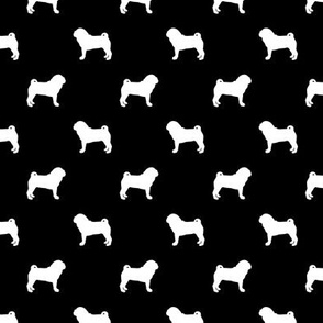 pug silhouette - dog silhouette fabric black