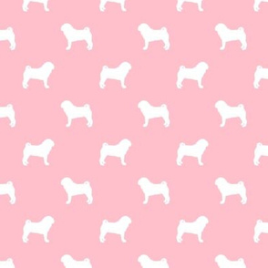 pug silhouette - dog silhouette fabric blossom pink