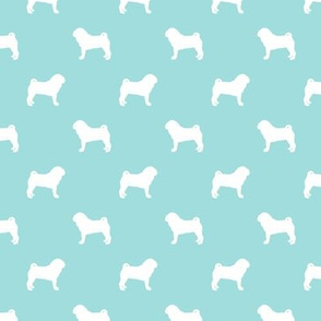 pug silhouette - dog silhouette fabric  blue tint