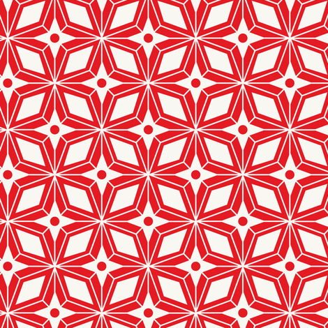 Starburst - Midcentury Modern Geometric Red fabric by heatherdutton on Spoonflower - custom fabric
