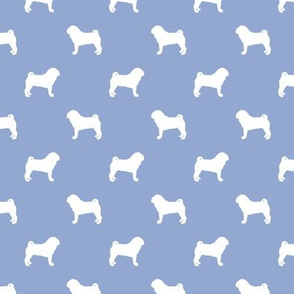 pug silhouette - dog silhouette fabric cerulean