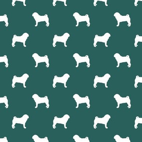 pug silhouette - dog silhouette fabric eden green