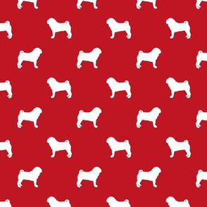 pug silhouette - dog silhouette fabric fire red