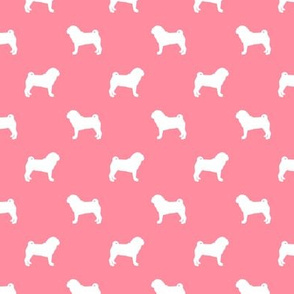 pug silhouette - dog silhouette fabric flamingo pink