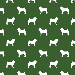 pug silhouette - dog silhouette fabric garden green