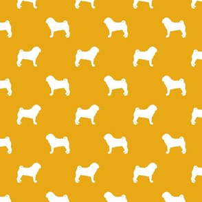 pug silhouette - dog silhouette fabric goldenrod