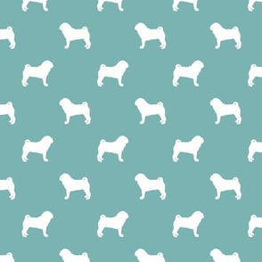 pug silhouette - dog silhouette fabric gulf blue