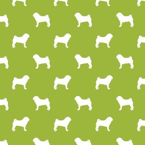 pug silhouette - dog silhouette fabric lime green