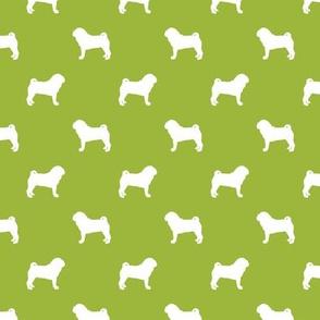 pug silhouette - dog silhouette fabric lime green