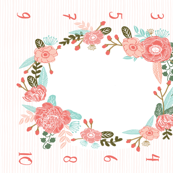 "customizable floral wreath fabric - - designed for 50""+ wide fabrics ONLY milestone playmat blanket"