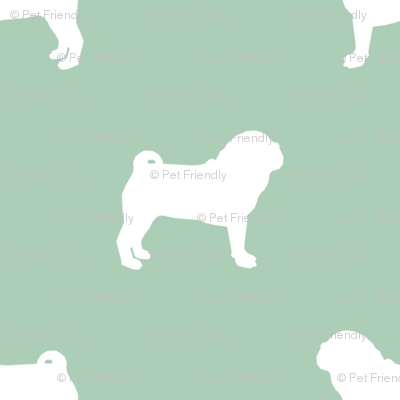 pug silhouette - dog silhouette fabric mint green