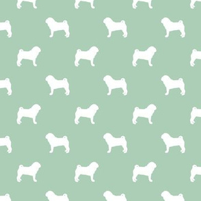 pug silhouette - dog silhouette fabric mint green