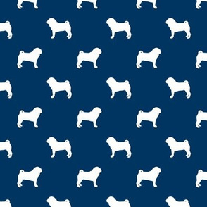 pug silhouette - dog silhouette fabric navy