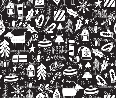 Peace & Joy Christmas - Black & White