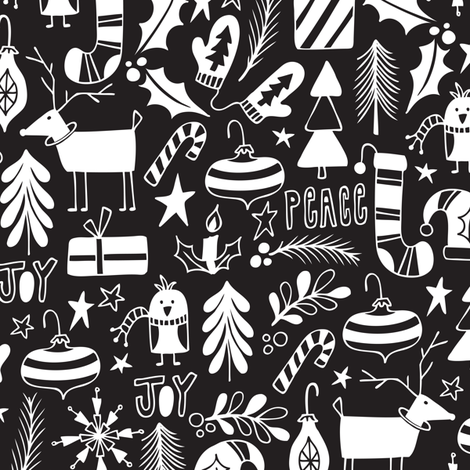 Peace & Joy Christmas - Black & White fabric by heatherdutton on Spoonflower - custom fabric