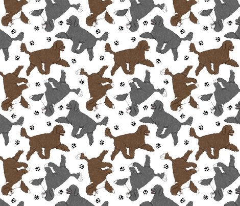 Trotting Portuguese water dogs and paw prints A - white fabric by rusticcorgi on Spoonflower - custom fabric