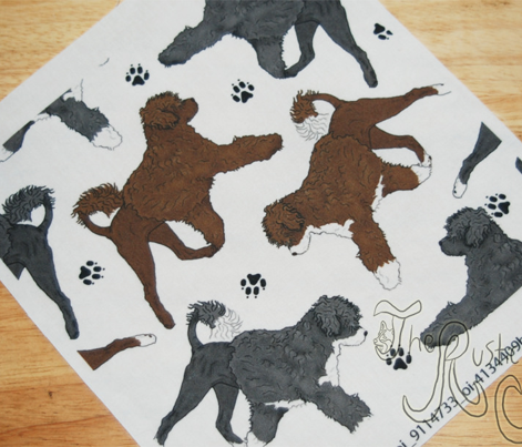 Trotting Portuguese water dogs and paw prints B - white
