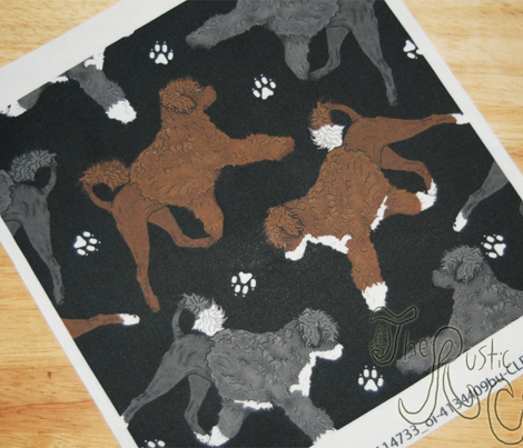 Trotting Portuguese water dogs and paw prints B - black