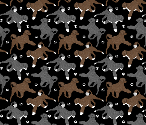 Trotting Portuguese water dogs and paw prints B - black fabric by rusticcorgi on Spoonflower - custom fabric
