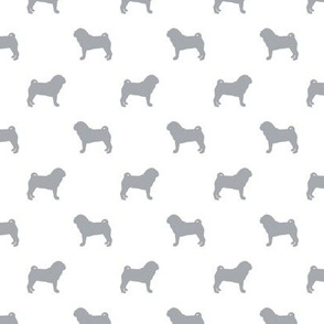 pug silhouette - dog silhouette fabric quarry and white