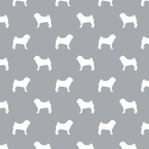 pug silhouette - dog silhouette fabric quarry