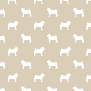 pug silhouette - dog silhouette fabric sand