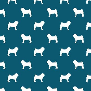 pug silhouette - dog silhouette fabric sapphire