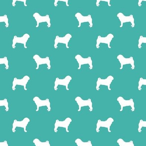 pug silhouette - dog silhouette fabric turquoise