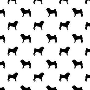pug silhouette - dog silhouette fabric white