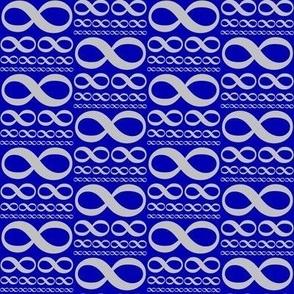infinitiki - silver on cobalt blue