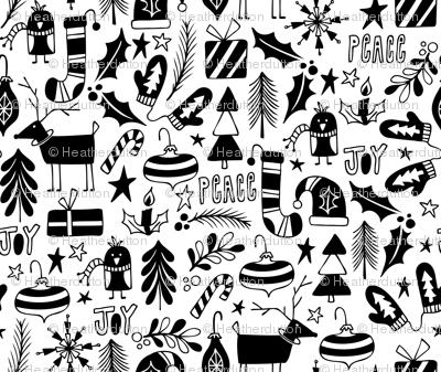 Peace & Joy Christmas - White & Black