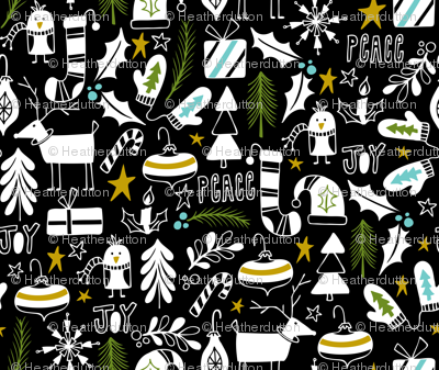 Peace & Joy Christmas - Black & White Green Gold