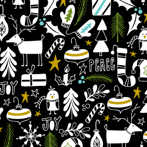 Peace & Joy Christmas - Black & White Green Gold fabric by heatherdutton on Spoonflower - custom fabric