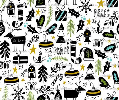 Peace & Joy Christmas - White & Black Green Gold