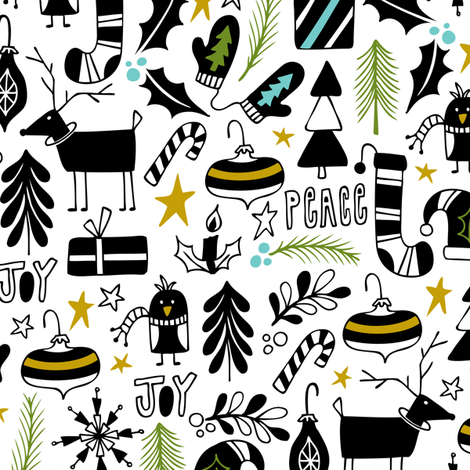 Peace & Joy Christmas - White & Black Green Gold fabric by heatherdutton on Spoonflower - custom fabric