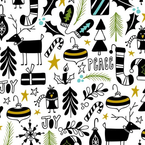 Peace & Joy Christmas - White & Black Green Gold fabric by heatherdutton on Spoonflower - custom fabric