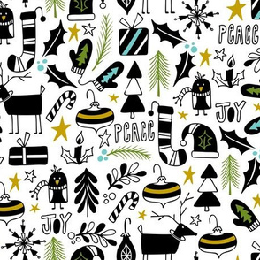 Peace & Joy Christmas - White & Black Green Gold