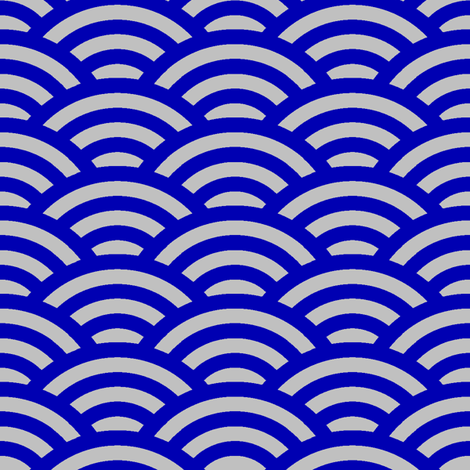 Japanese waves in cobalt blue and silver fabric by weavingmajor on Spoonflower - custom fabric