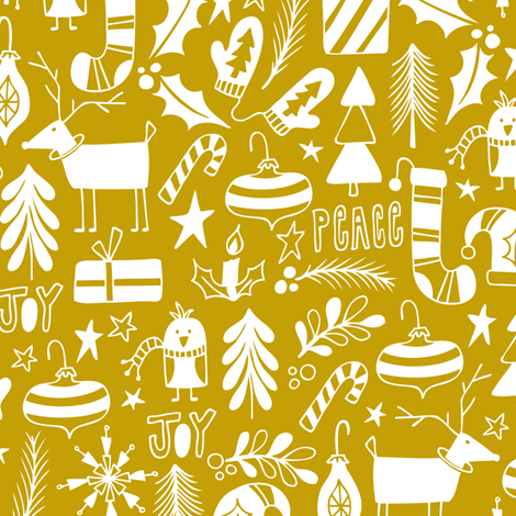 Peace & Joy Christmas - Yellow Gold fabric by heatherdutton on Spoonflower - custom fabric