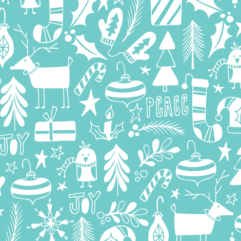 Peace & Joy Christmas - Aqua fabric by heatherdutton on Spoonflower - custom fabric