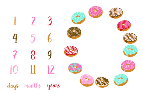 "milestone blanket - donuts for 52"" + WIDE FABRICS ONLY fabric by charlottewinter on Spoonflower - custom fabric"