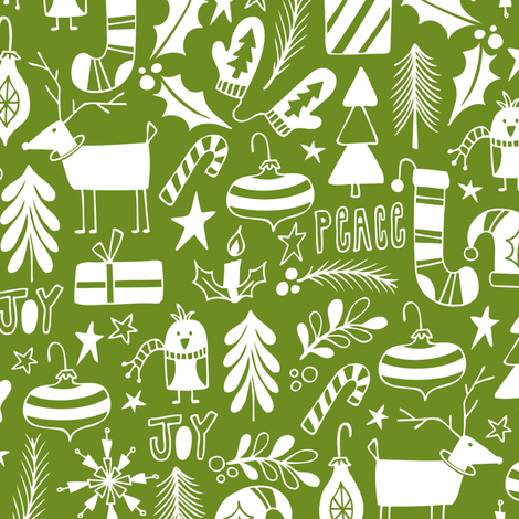 Peace & Joy Christmas - Green fabric by heatherdutton on Spoonflower - custom fabric