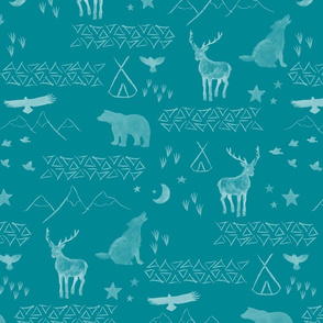 Watercolor Woodland White Teal