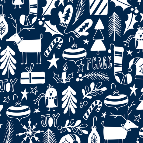 Peace & Joy Christmas - Navy Blue fabric by heatherdutton on Spoonflower - custom fabric
