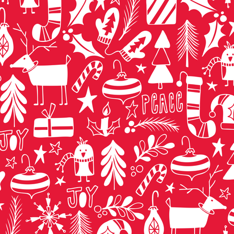 Peace & Joy Christmas - Red fabric by heatherdutton on Spoonflower - custom fabric