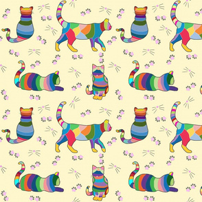 Colorful CrossStitch Cats on Soft Yellow Background