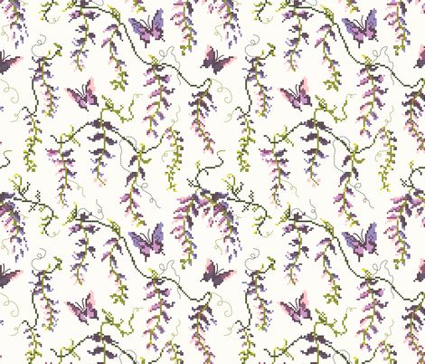 Wisteria Cross Stitch  fabric by at_the_cottage on Spoonflower - custom fabric