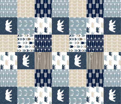 Rustic Woods Patchwork Wholecloth with linen bears (90) fabric by littlearrowdesign on Spoonflower - custom fabric